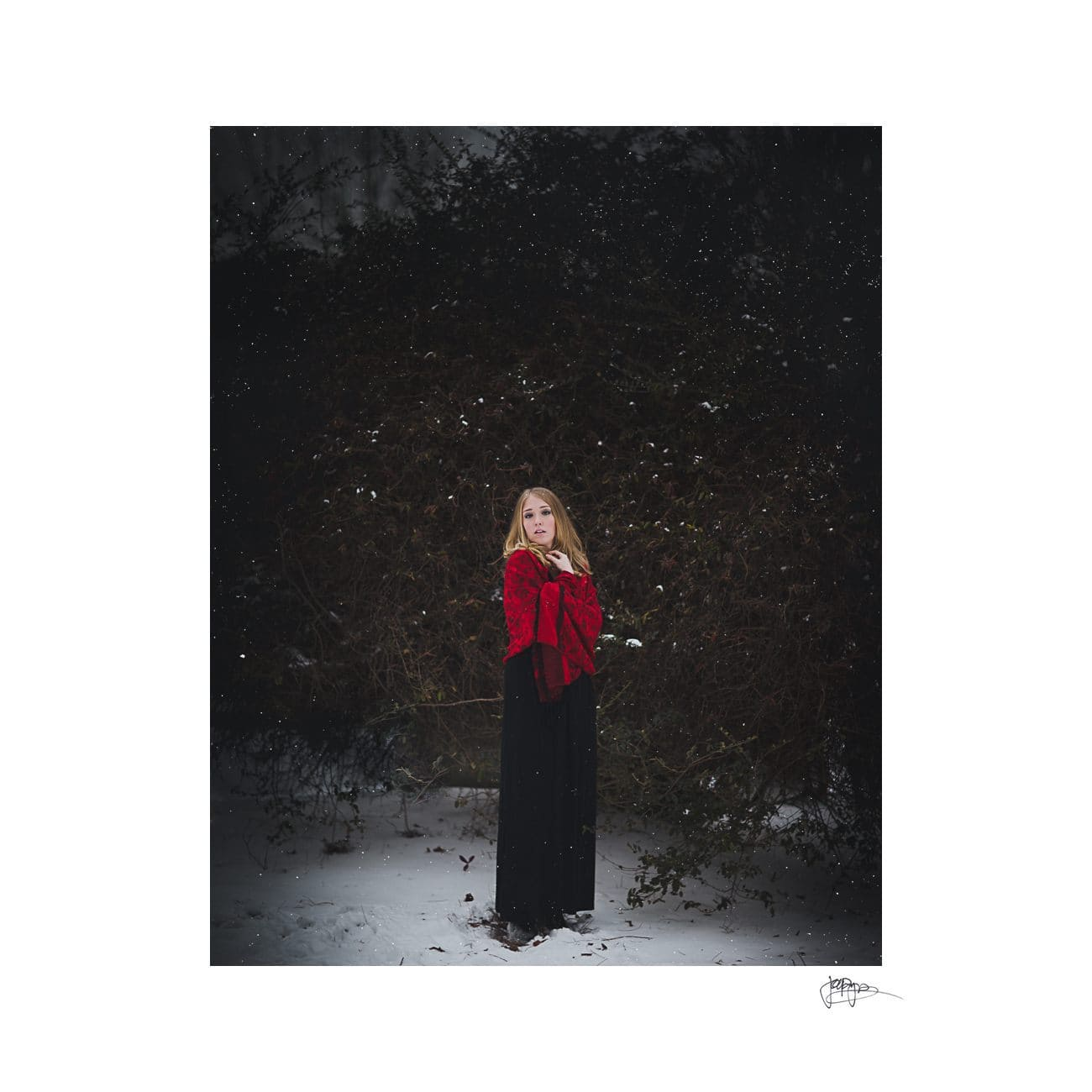 raleigh portrait photographer full length in snow and bushes