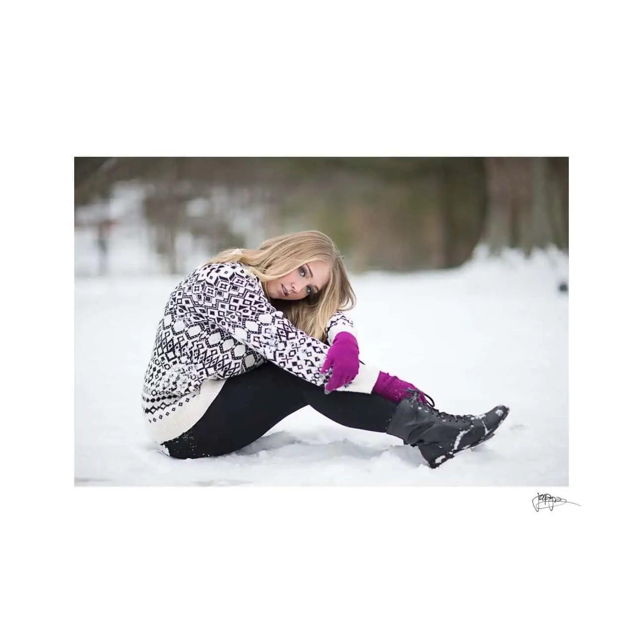 raleigh portrait photographer girl in snow