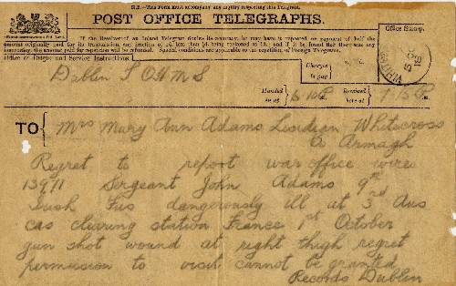 War Office Telegram