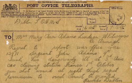 War Office Telegram