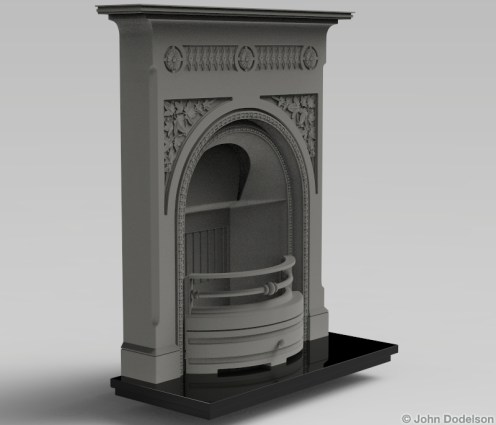 cast iron fireplace: Maya, ZBrush