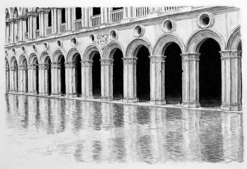 Drawing of the Doges Palace, Venice Italy