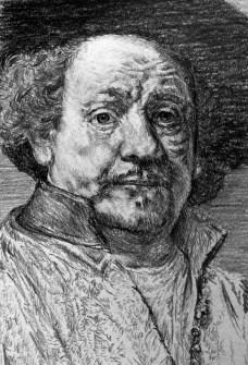 Drawing of Rembrandt Self Portrait from 1660