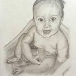 Baby-Pencil-Portrait-Drawing-by-John-Gordon
