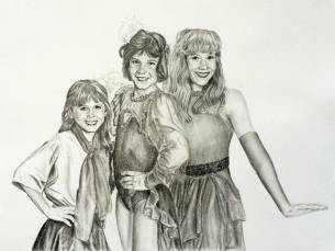 Haines-Sisters-Portrait-Drawing-by-John-Gordon