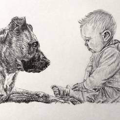RedditGetsDrawn-Dog-and-Child-Portrait-Drawing-by-John-Gordon
