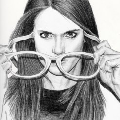 Trisha Glasses Drawing by Artist John Gordon