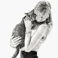 RedditGetsDrawnGirl and Cat Portrait Drawing by John Gordon The_Drawist