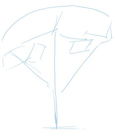 I start with a light non-photo-blue diagram of the basic shape. This helps make sure I have the overall proportions of the tree, height of trunk base and width and height of the canopy.