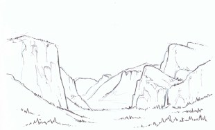 Add detail in the foreground mountains. Keep detail to a minimum on distant elements.