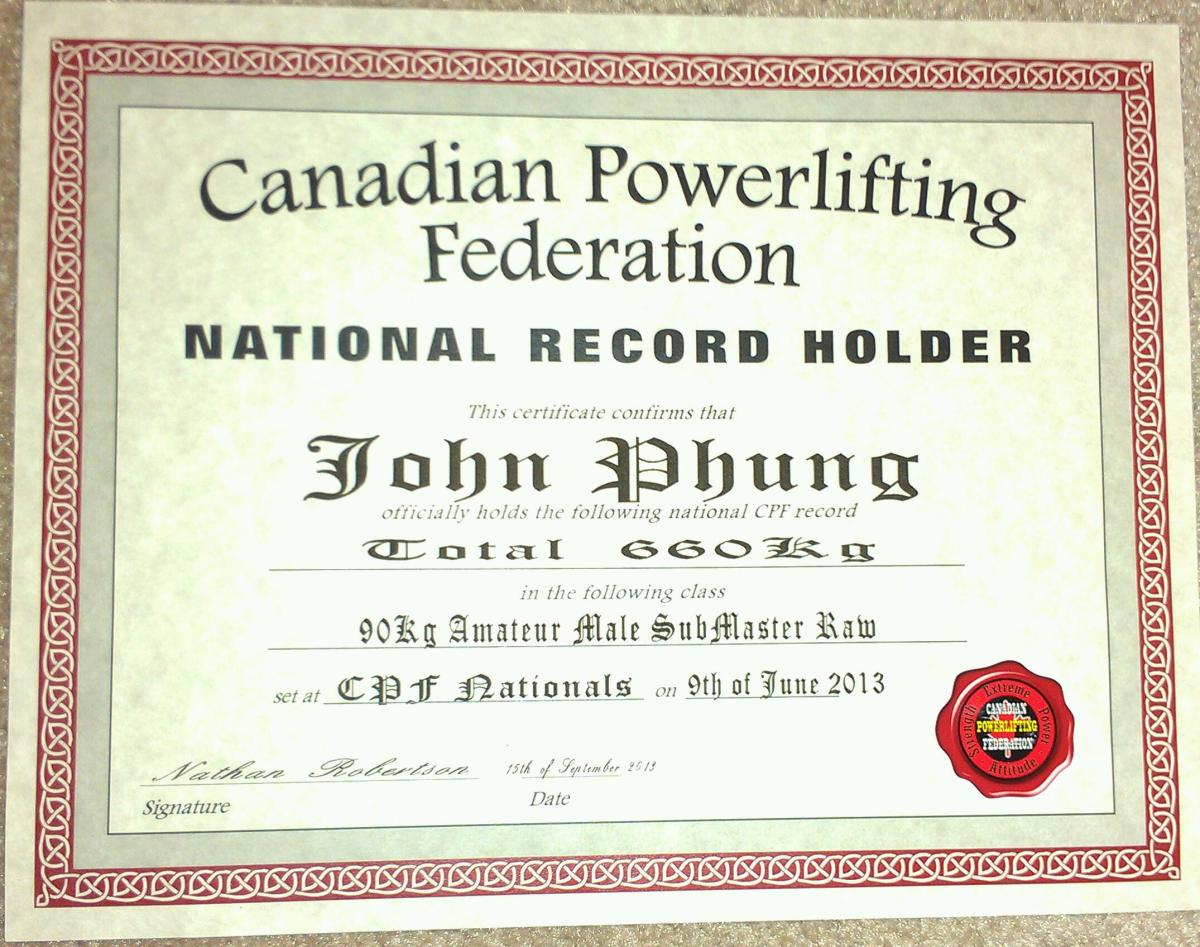 Canadian Powerlifting Federation (CPF) Men's Amateur Record Certificates