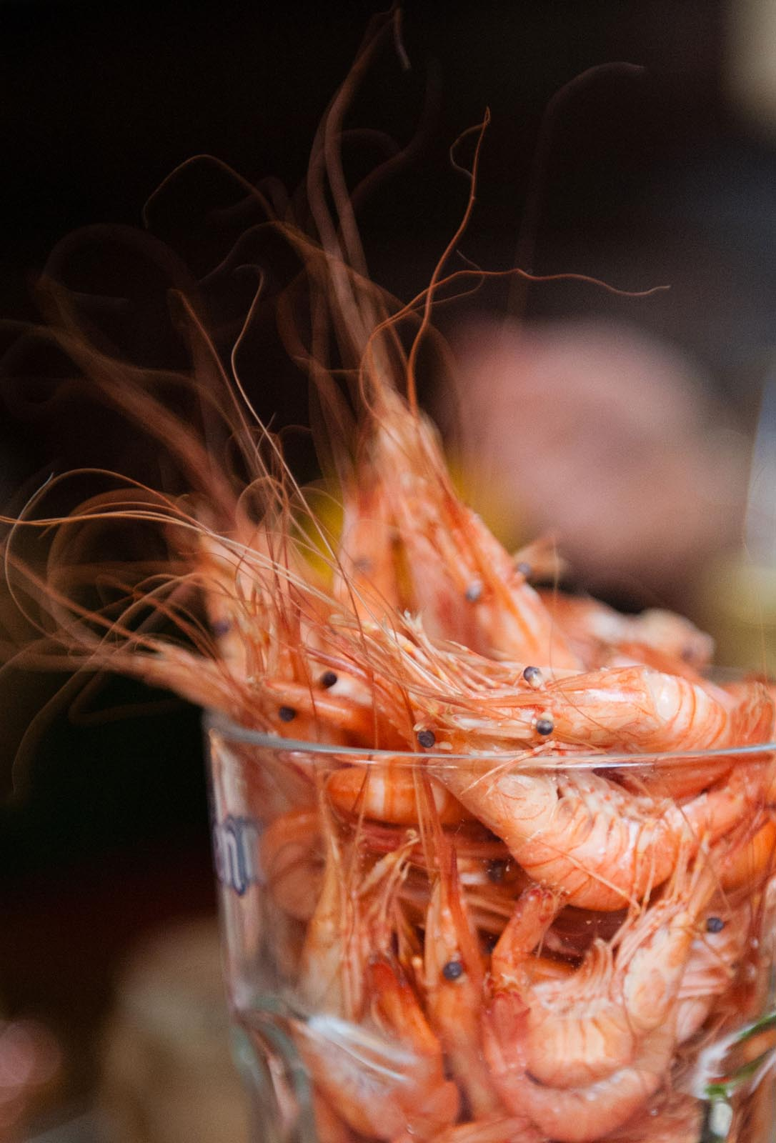 Locally caught shrimps, served in a pint glass at Cronin's Pub, Crosshaven.