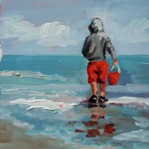 children playing at the beach, painting by artist Debbie Miller