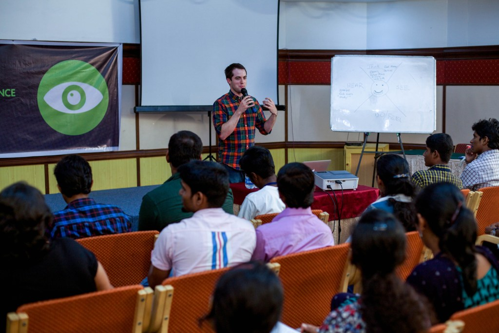 Jonathan speaking in Kochi, India