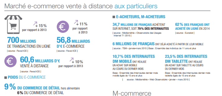 chiffre d'affaires du e-commerce 2014 (marché: France)