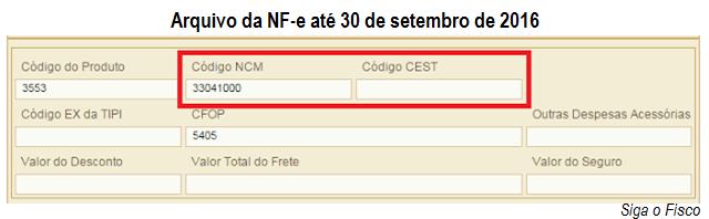 CEST-NF-e ate 30 de set
