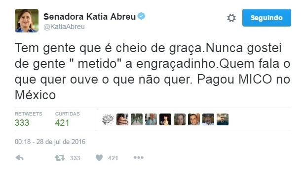 """Kátia Abreu alfineta Serra no Twitter: """"Pagou mico no México"""""""
