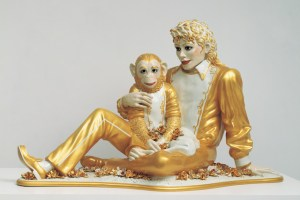 "Jeff Koons, ""Michael Jackson and Bubbles"" (1988), porcelain; 42 x 70 1⁄2 x 32 1⁄2 in, private collection (© Jeff Koons, image courtesy the Whitney Museum of American Art)"