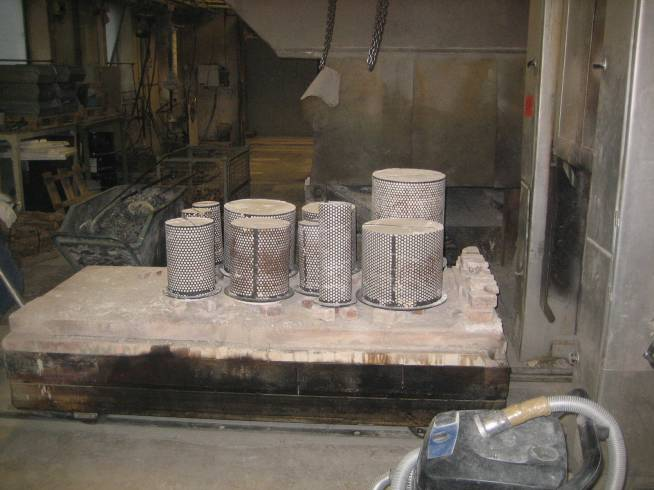 "Investment mold of ""Permutation Prime"" going into furnace for burn-out"