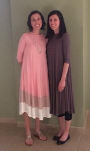 Amanda and Ashley wearing their dresses.