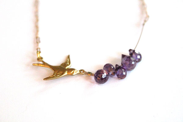 bird necklace handmade purple teardrop