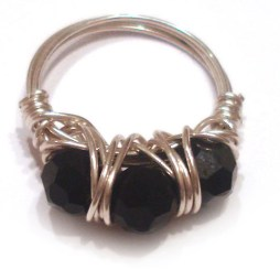 Black swarovski Wire wrapped Ring handmade jewelry
