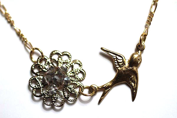 Gold Handmade Necklace with bird Charm