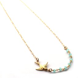 bird-charm-blue-bead-necklace-handmade