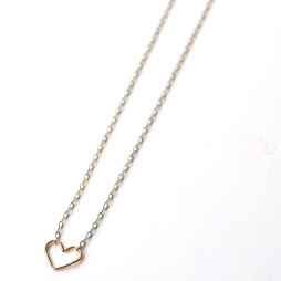 two-toned-necklace-gold-heart-silver-chain-handmade-jewelry