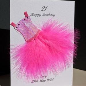 Flouncy feathers - hot pink - 18th/21st Birthday Card Angle - Ref P107h