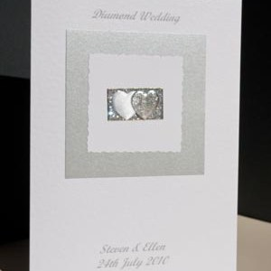 Diamond Hearts - Diamond Wedding Anniversary Card Angle - Ref P110