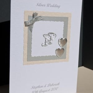 Silver Celebration - Silver Wedding Anniversary Card Angle - Ref P119