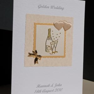 Golden Bubbles - Golden Wedding Anniversary Card Angle - Ref P128