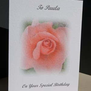 Peach Rose - Birthday Card Angle - Ref P133