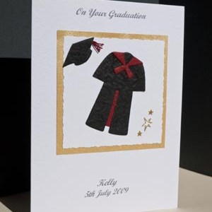 Black gown with red trim Graduation Card Angle - Ref P145r