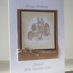Vintage Tractor in Sepia – Men's Birthday Card Angle - Ref P185