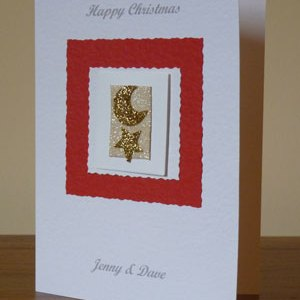 Gold Star and Moon Christmas Card Angle - Ref PC601