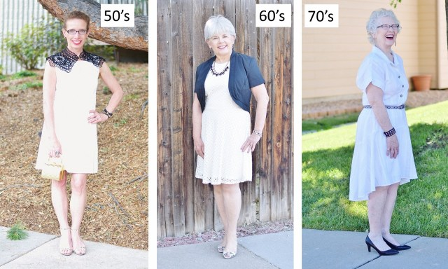 white dress for women in the ages of their 50's, 60's, & 70's.