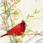 """Cardinal in SpringSOLDPaper Collage on Canvas3"""" x 5"""""""