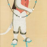 "Cat on Stilts    SOLDPaper Collage on Panel14"" x  40"""