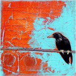"""Crow on WireSOLDPaper Collage on Canvas8"""" x 8"""""""
