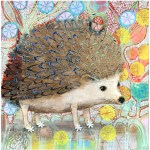 "Hedgie Decorated with a Mushroom    SOLDMixed Media on Panel10"" x 10"""