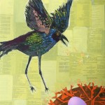 """Laughing GrackleSOLDPaper Collage on Canvas24"""" x 36"""""""