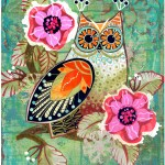 """Owl With Pink FlowersSOLDPaper Collage on Canvas14"""" x 18"""""""