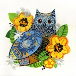 """Owl With Yellow FlowersSOLDPaper Collage on Canvas13"""" x 13"""""""