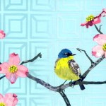 """Warbler on DogwoodSOLDPaper Collage on Canvas12"""" x 30"""""""