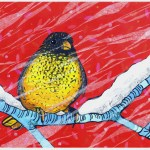 """Robin in SnowSOLDPaper Collage on Canvas30"""" x 24"""""""