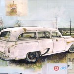 """Chevy HandymanSOLDFound Trash and Paper on Panel30"""" x 24"""""""