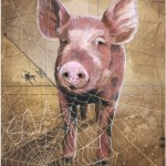 "Some pig    SOLDPaper Collage on Canvas14""x 18"""