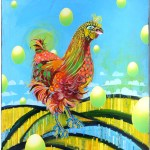 Funky Chicken      SOLD            Cut Paper on Canvas       30″ x 36″